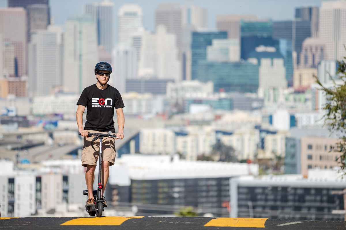 Eon Scooter Standing Position at Twin Peaks in SF